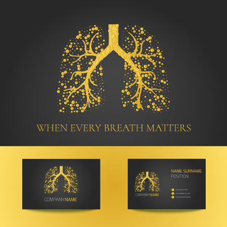 air awareness: Medical business card template with lungs filled with air bubbles on black background. Illustration