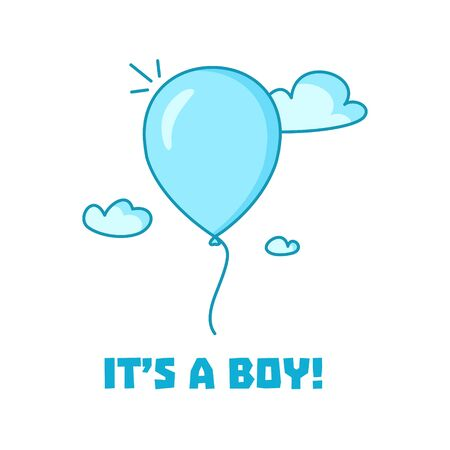 flying balloon: Its a boy-baby shower invitation card design. Greeting card with a blue flying balloon. Vector illustration for your design. Illustration