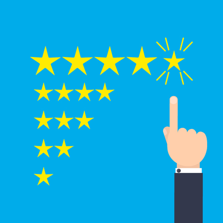 approval icon: Customer positive review design template. Rating evaluation vector symbol. Five star business icon. Male hand pointing to five stars. Likes, approval, positive feedback sign. Illustration