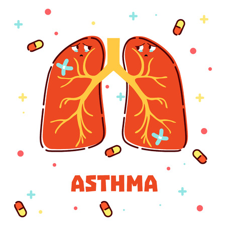 asthma: Vector illustration of lungs and pills on white background. Asthma awareness poster made in cartoon style. Medical concept.