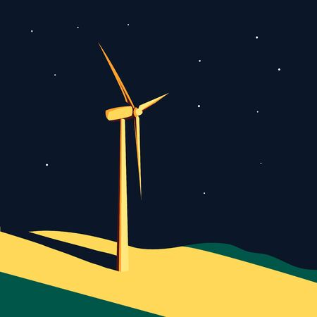 spot clean: Wind generator turbine in the light spot at night. Wind farm. Ecology environmental background. Clean sustainable energy concept. Vector illustration. Illustration