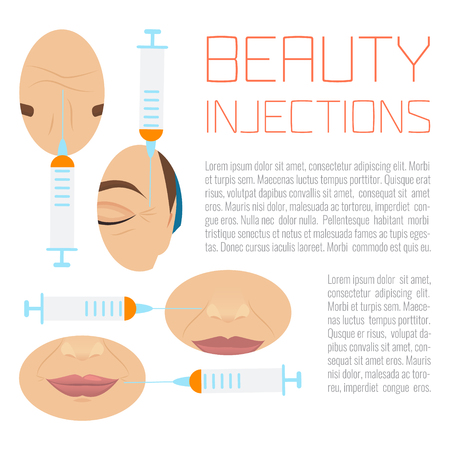 wrinkles: Beauty facial injections design template with place for text. Anti-ageing therapy process for facelift and wrinkles. Female rejuvenation treatment infographics. Vector illustration.