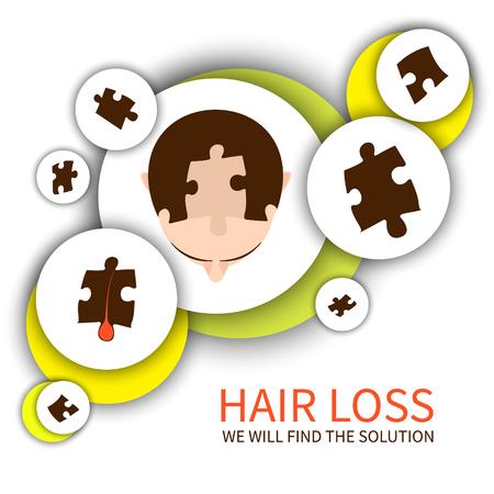 髪のパズルのピースを持つ男の平面図です。ジグソー パズル髪損失インフォ グラフィック要素。毛損失の問題の概念を解決します。毛髪クリニック  イラスト・ベクター素材