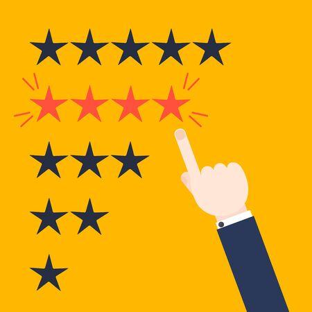 Kunden gute positive Bewertung Design-Vorlage auf gelbem Hintergrund. Rating Auswertung Vektorsymbol. Fünf-Sterne-Business-Symbol. Männliche Hand auf vier Sterne zeigen. Likes, Genehmigung, positives Feedback Zeichen Vektorgrafik