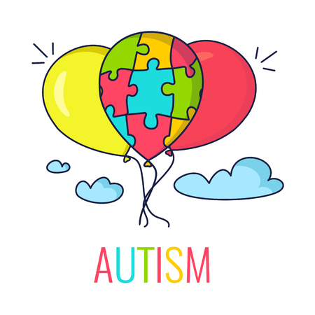 Autism awareness poster with colorful balloons. Balloon made of puzzle pieces as symbol of autism. Vector illustration. Çizim