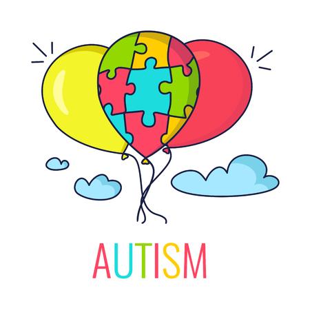 Autisme voorlichting poster met kleurrijke ballonnen. Balloon gemaakt van puzzel stukjes als symbool van autisme. Vector illustratie.