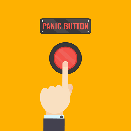 Businessman pressing panic button on yellow background. Social media button.