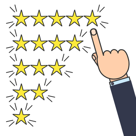 likes: Customer good positive review design template on white background. Rating evaluation vector symbol. Five star business icon. Male hand pointing to five stars. Likes, approval, positive feedback sign Illustration