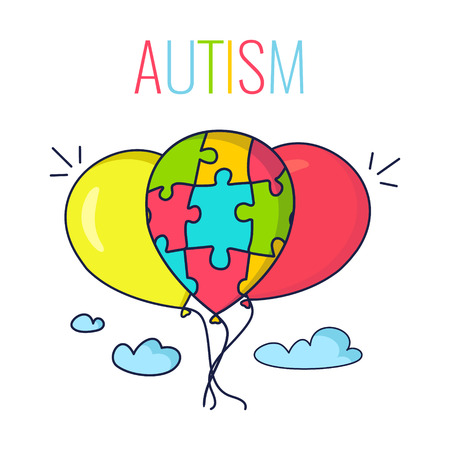 Autism Awareness Poster With Colorful Balloons Balloon Made