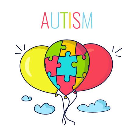Autyzmu plakat z kolorowych balonów na niebie. Balon wykonany z puzzli jako symbol autyzmu. ilustracji wektorowych.