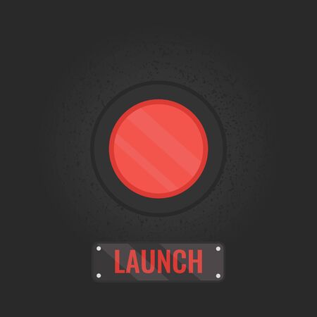 vector button: Launch button sign. Vector illustration of a red emergency  button on rusty black panel. Touch, push or press symbol. Social media button. Start up business concept. Vector illustration. Illustration