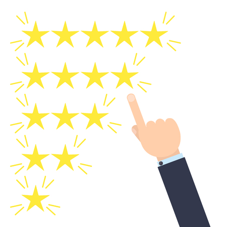 likes: Customer good positive review design template on yellow background. Rating evaluation vector symbol. Five star business icon. Male hand pointing to four stars. Likes, approval, positive feedback sign Illustration