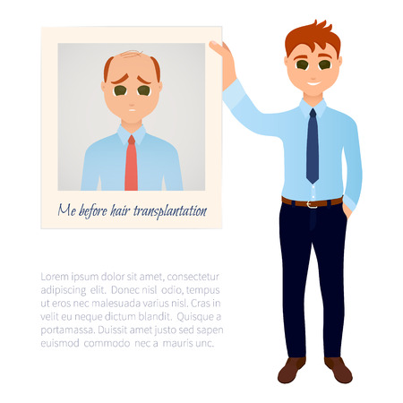 before: Man with great thick hair showing his old photo before hair treatment and hair transplantation. Male hair loss design template. Before and after medical concept. Vector illustration.