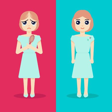 regeneration: Unhappy woman with alopecia becomes happy after hair regeneration. Before and after hair treatment and hair transplantation. Perfect for hair clinics and diagnostic centers. Vector illustration. Illustration