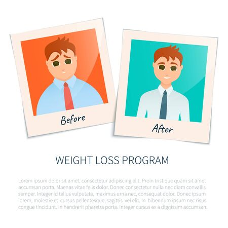 perfect body: Vector illustration of two photographs of a man before and after weight loss. Perfect body symbol. Successful diet and weight loss concept. Perfect for fitness gyms and health magazines.