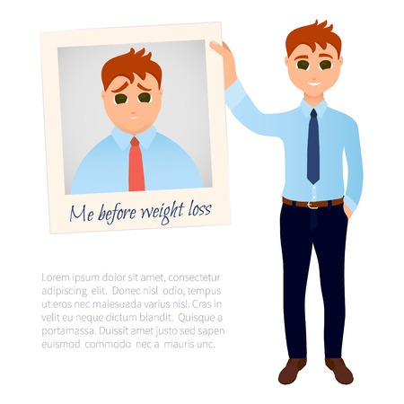 perfect body: Slim man in good shape showing his old photo before weight loss. Obesity versus perfect body symbol. Successful diet and weight loss concept. Cartoon characters. Vector illustration. Illustration