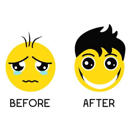 Sad balding emoticon before hair treatment and happy smiley with gorgeous hair after hair regrowth. Set of emoticons isolated on a white background. Hair care concept. Emoji vector illustration. Vetores