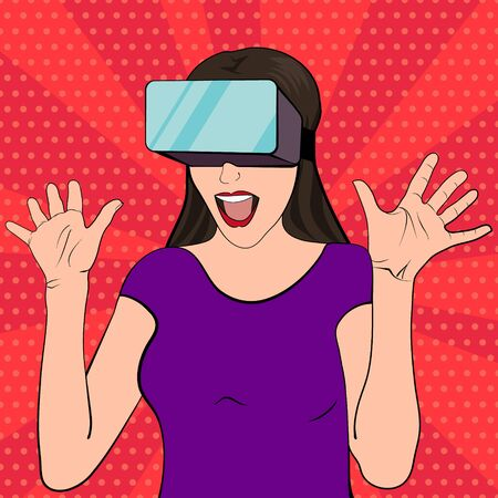 headset: Woman wearing virtual reality goggles. Vector illustration of an excited and surprised woman in a pop art retro style. Pop art girl with her mouth open and hands raised. VR gaming. Vintage poster.