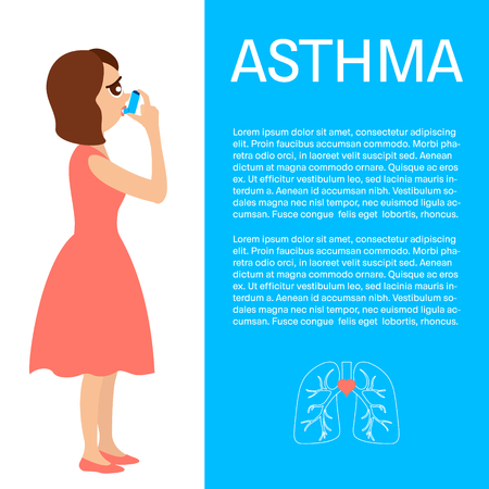 the air attack: Woman using a spray inhaler to stop asthma attack. Asthma design template with place for text. Bronchial asthma awareness concept. Vector illustration.
