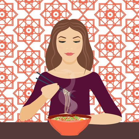 chop sticks: Vector illustration of a young woman eating noodle soup with chopsticks in a restaraunt. Dinner time. Eating. Vector background is made in Chinese geometric style. Chinese cuisine.