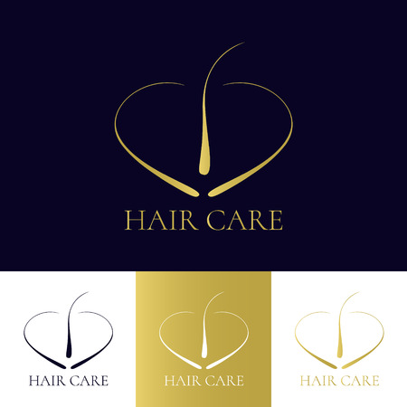 Modelo de la insignia de cuidado del cabello en cuatro colores. icono del folículo piloso. símbolo bulbo del cabello. Cabello diagnóstico médico señal. trasplante de cabello centro de logotipo. Concepto de tratamiento de pérdida de cabello. Ilustración del vector.
