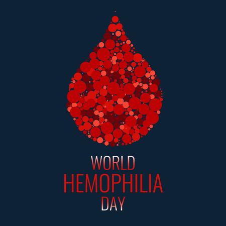 Día mundial de la hemofilia. Gota de sangre hecha de puntos sobre fondo azul. símbolo de la gota. Símbolo del conocimiento de la hemofilia. Detener la hemofilia. ilustración del vector. Ilustración de vector