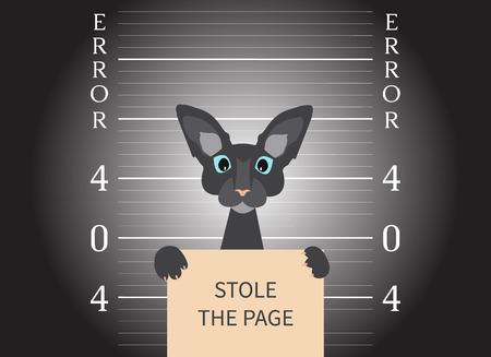 ページが見つかりませんでした。404 エラーの創造的なデザイン。Lightspot で猫のマグショット。サインを盗んだページを保持している警察署で猫を逮