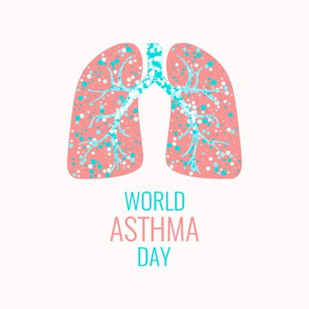air awareness: World Asthma Day poster. Vector illustration of lungs filled with air bubbles. Asthma awareness sign. Asthma solidarity day. Healthy lungs symbol. Lungs logo.