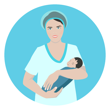 obstetrician: Vector illustration of a smiling doctor holding a newborn sleeping baby. Midwife. Obstetrician. Nurse taking care of a baby. Medical concept.