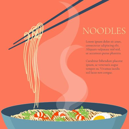 lo mein: Chinese noodles and chopsticks. Bowl of noodles with shrimps, eggs and parsley. Chopsticks hovering above. Wan mian. South East Asian cuisine. Design template with place for your text.