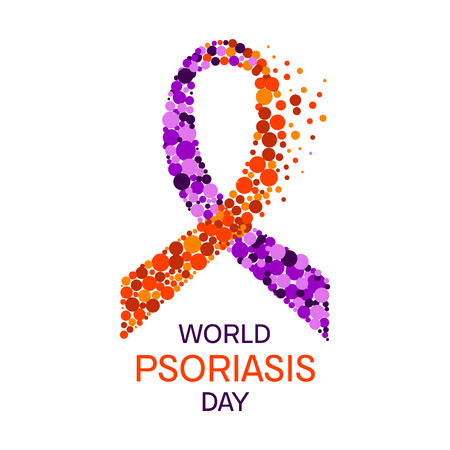 Psoriasis ribbon poster. Psoriatic arthritis awareness poster with a purple and orange ribbon made of dots on white background. Vector illustration. Иллюстрация
