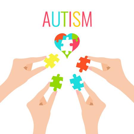 Cartel de la conciencia del autismo con el corazón y las manos sobre fondo blanco. Corazón hecho de pedazos del rompecabezas como símbolo de autismo. La solidaridad y el símbolo de apoyo. Concepto médico. Ilustración del vector.