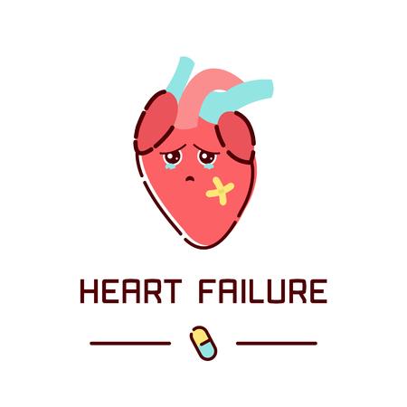 Cartel de la conciencia de la enfermedad insuficiencia cardíaca con el corazón triste de dibujos animados sobre fondo blanco. los órganos del cuerpo humano icono anatomía. Concepto médico. Ilustración del vector.