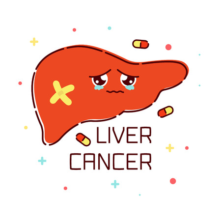 Liver cancer awareness poster with sad cartoon liver character on white background. Human body organs anatomy icon. Medical concept. Vector illustration. Illustration