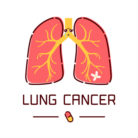 Lung cancer awareness poster with sad cartoon lungs character on white background. Human body organs anatomy icon. Respiratory system disease. Medical concept. Vector illustration. Illustration