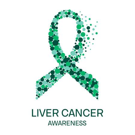 necrosis: Liver cancer awareness poster design template. Emerald green ribbon made of dot on white background. Medical concept. Vector illustration. Illustration