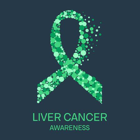 liver cancer: Liver cancer awareness poster design template. Emerald green ribbon made of dots on dark background. Medical concept. Vector illustration. Illustration