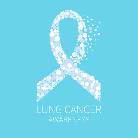 lung disease: Lung cancer awareness poster with white ribbon made of dots on blue background. Human body organs anatomy icon. Respiratory system disease. Medical concept. Vector illustration.