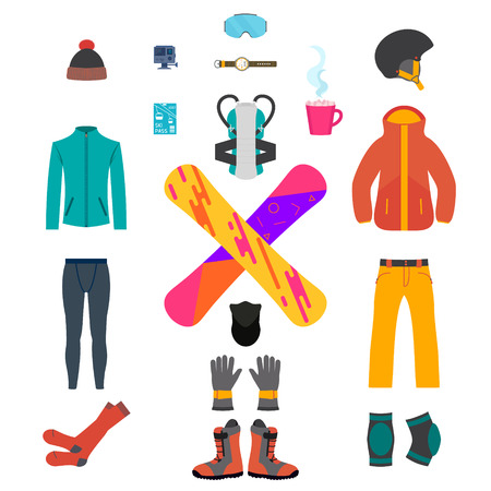 thermal: Set of snowboarding equipment icons on white background. Isolated snowboard and ski sport clothes and tools elements. Thermal underwear and protective gear. Winter sport concept. Vector illustration.