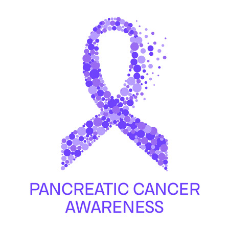 Pancreatic cancer awareness poster. Purple ribbon made of dots on white background. Pancreatitis disease. Medical concept. Vector illustration. Illustration
