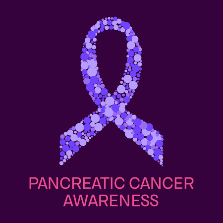 pancreatic cancer: Pancreatic cancer awareness poster. Purple ribbon made of dots on puple background. Pancreatitis disease. Medical concept. Vector illustration.