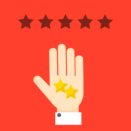 poverty: Negative review. Bad rating evaluation vector symbol. Hand showing two stars. Like and  approval concept. Customer review and feedback design template.