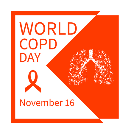 obstructive: World COPD day. Chronic obstructive pulmonary disease awareness poster with lungs and orange ribbon. Medical concept. Vector illustration. Illustration