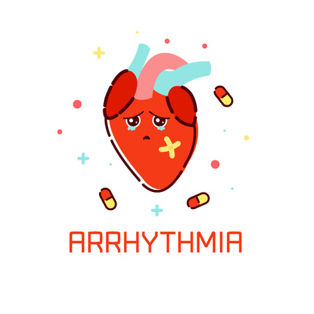 heart disease: Cardiac arrhythmia disease awareness poster with sad cartoon heart on white background. Human body organs anatomy icon. Medical concept. Vector illustration.