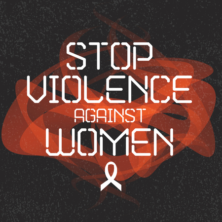 elimination: International day for the elimination of violence against women. White Ribbon Campaign poster. Stop violence against women inscription sign. Womens rights concept. Isolated vector illustration. Illustration