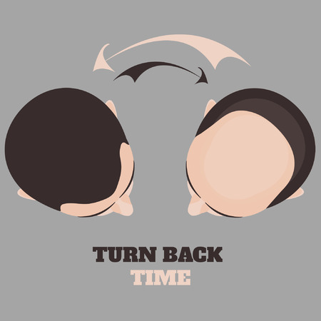 Top view portrait of a man before and after hair treatment and hair transplantation. Turn back time concept. Isolated vector illustration. Illustration
