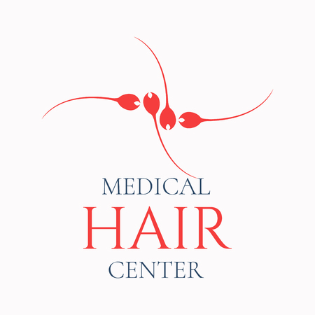Medical template made of hair bulbs. Medical Hair center sign symbol. Hair loss treatment concept. Isolated vector illustration.