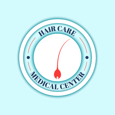papilla: Hair medical diagnostics label. Hair care. Hair medical center poster. Isolated vector illustration.