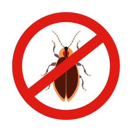 Keine Fehler melden. Verbotsschild mit einem Schädling. Insektenschutzemblem. Vektor-Illustration für Ihr Design. Vektorgrafik