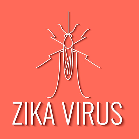 infected: Zika virus symbol. Mosquito line icon with shadows. Aedes mosquito is the major vector of Zika virus. Zika virus disease - transmission. Pest control. Linear design. Isolated vector illustration. Illustration
